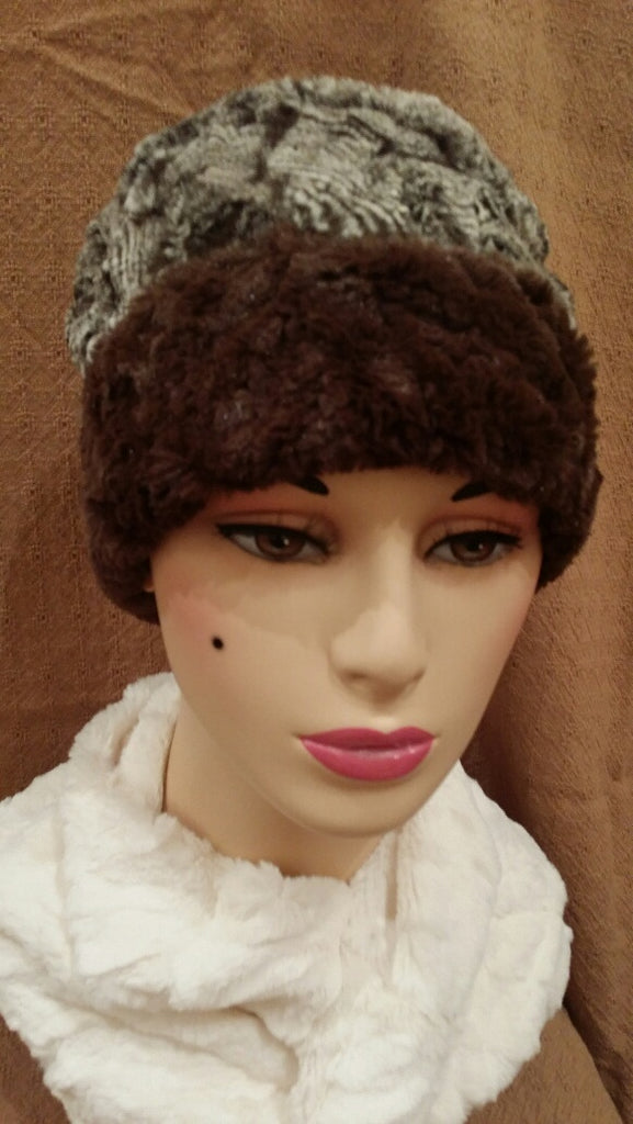 Cuddly In Chocolate with Praline Swirl Luxury Faux Fur Cuffed Pillbox Hat