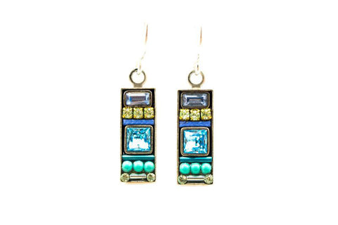 Aqua La Dolce Vita Rectangle Earrings by Firefly Jewelry