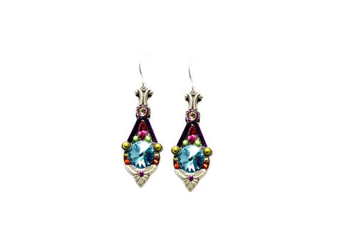 Aqua Floral Pendulum Earrings by Firefly Jewelry