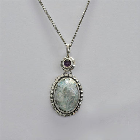 Amethyst Drop Oval Roman Glass Necklace