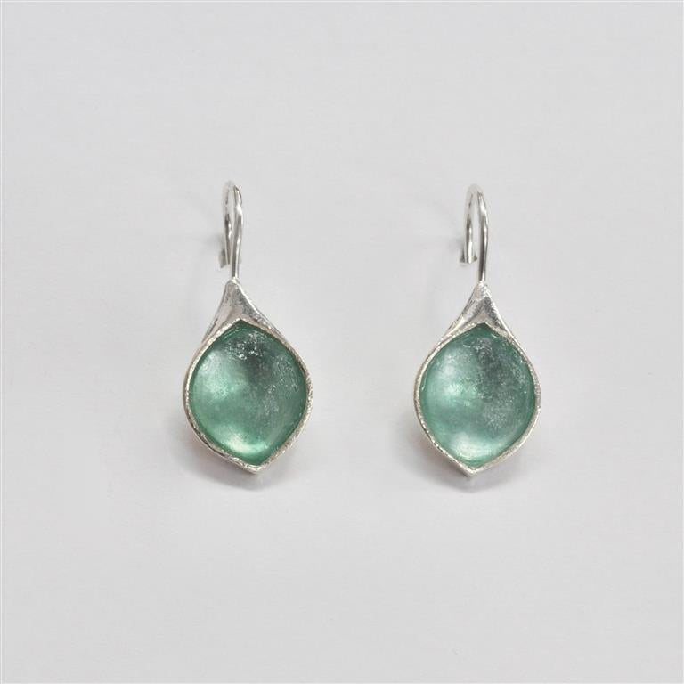 Small Pointed Tear Shaped Washed Roman Glass Earrings