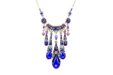 Royal Blue Camelia Waterfall Necklace by Firefly Jewelry
