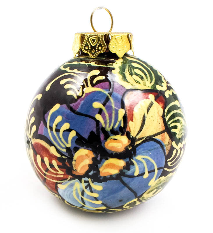 Pansies Small Bulb Ceramic Ornament