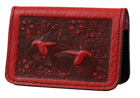 Leather Card Holder - Hummingbird in Red