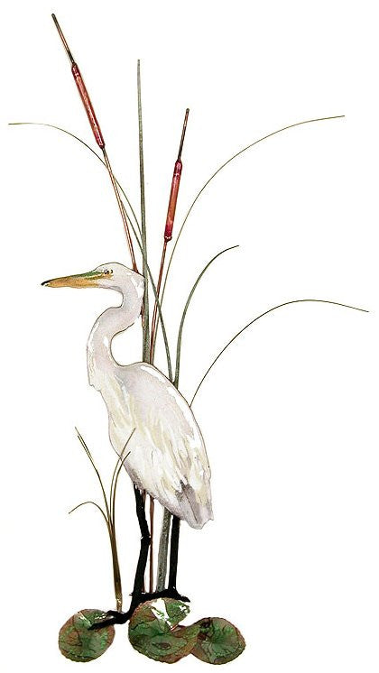 Small White Heron (Egret) with Cattails Wall Art by Bovano Cheshire