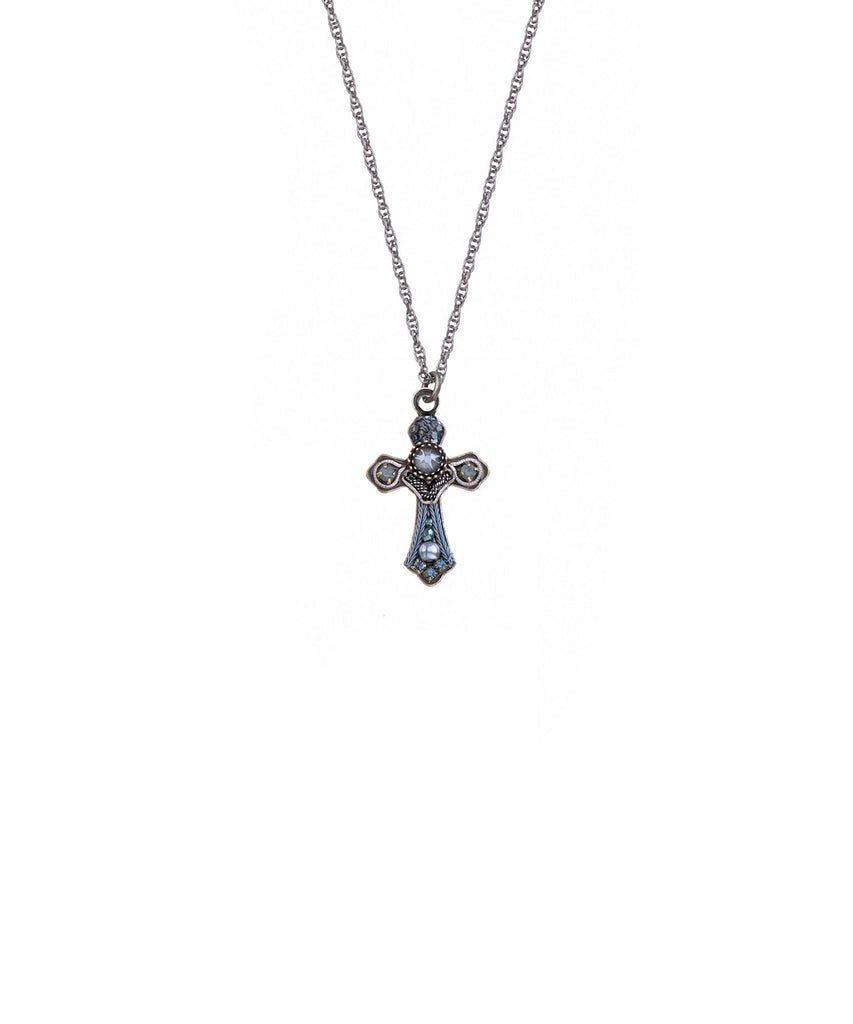 Sky Blue Small Cross Necklace by Ayala Bar