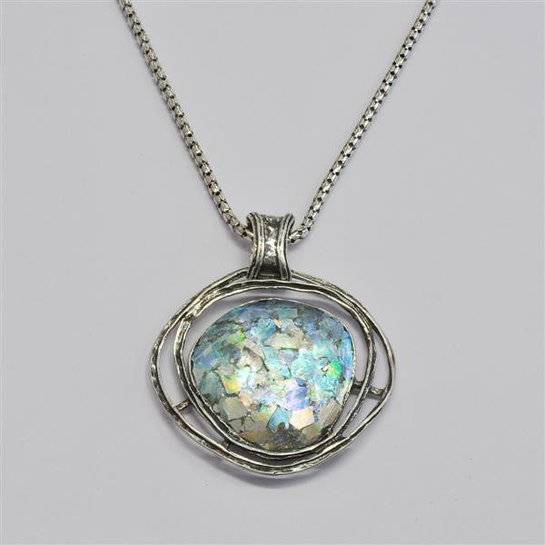 Ringed Organic Round Patina Roman Glass Necklace