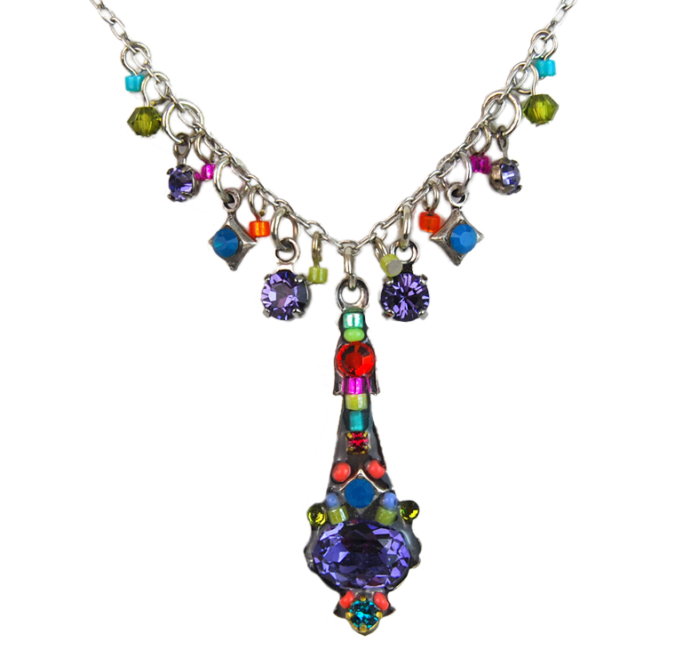 Multi Color Fringe Mosaic Necklace by Firefly Jewelry