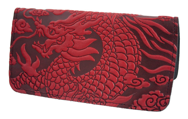 Leather Checkbook Cover - Cloud Dragon in Red