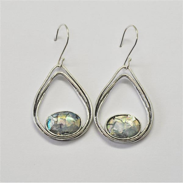 Ovals Within Open Teardrop Patina Roman Glass Earrings