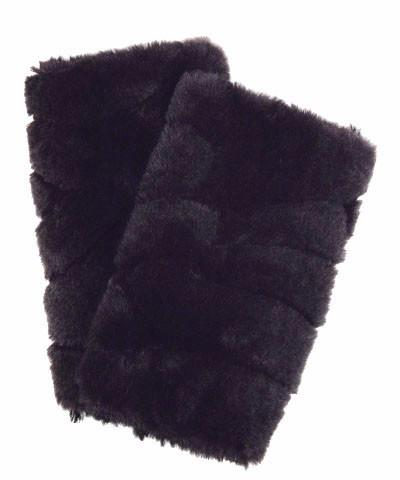 Aubergine Dream with Cuddly Black Luxury Faux Fur Fingerless Gloves