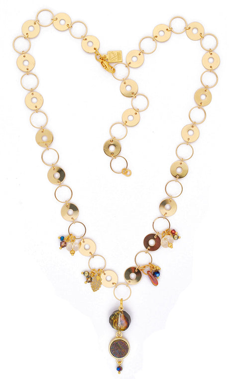 Multi Flash Druzy with Gold Bezel and Gold Disks Necklace by Desert Heart