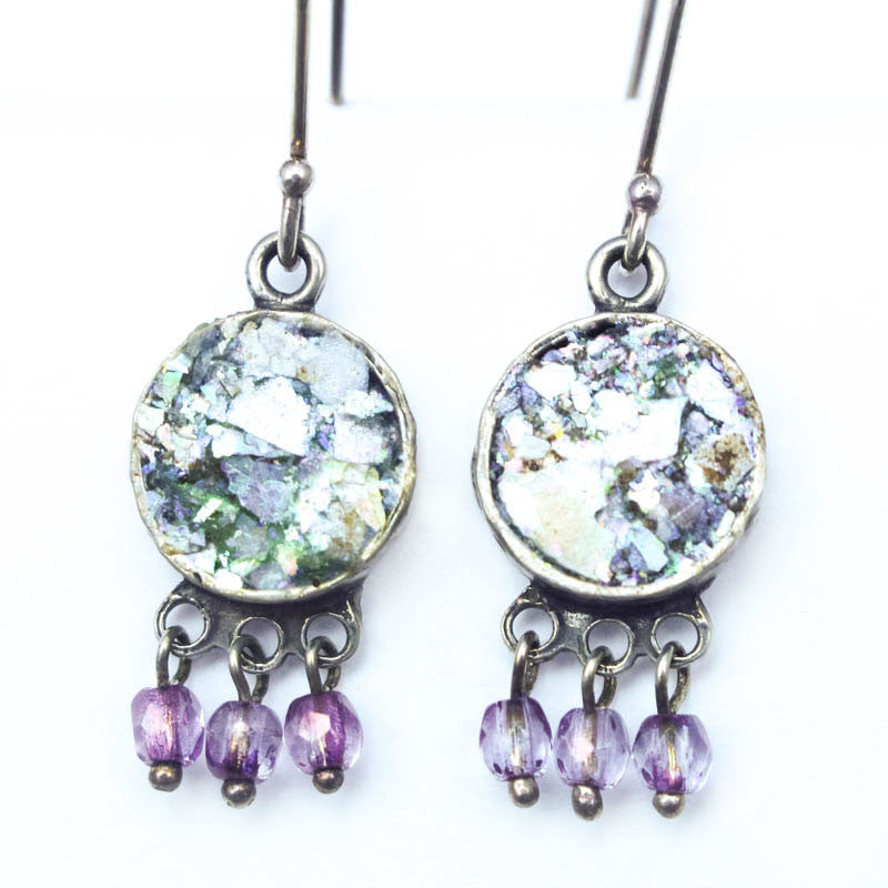Purple Stone Drop Earrings with Roman Glass Disc Earrings