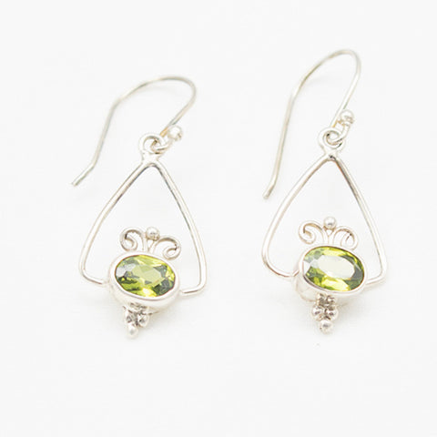Sterling Silver Oval Faceted Peridot Dangle Earrings