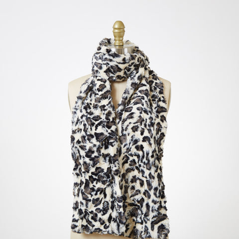 White Jaguar Luxury Faux Fur Scarf