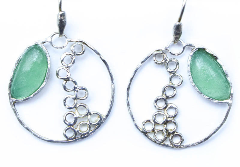 Open Circle Cascading Bubbles Design Washed Roman Glass Earrings
