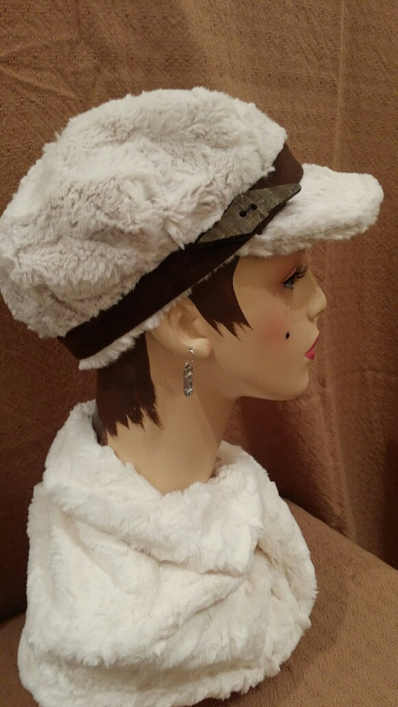 Cuddly Sand Luxury Faux Fur Valerie Hat with Button Horn on Faux Suede Chocolate Band