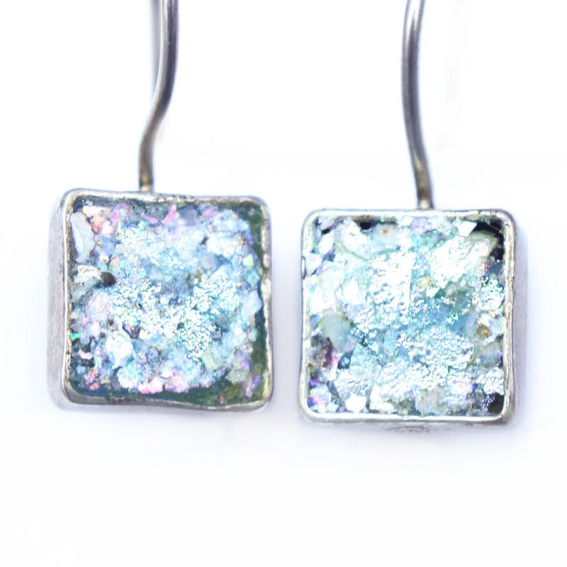 Latch Hook Square Roman Glass Earrings