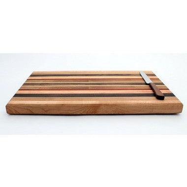 "Large Cutting Board with Stripes in Oak - Size 10""x16"""