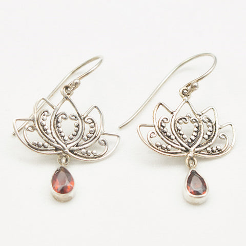 Sterling Silver Fancy Silver Lotus with Garnet Drop Earrings