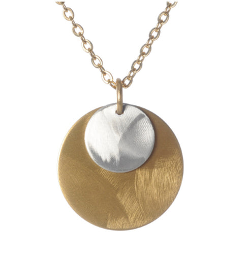 Small Overlapped Solid Discs Pendant Necklace