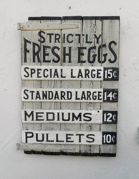 Strictly Fresh Eggs on Barn Door with Hinges Americana Art