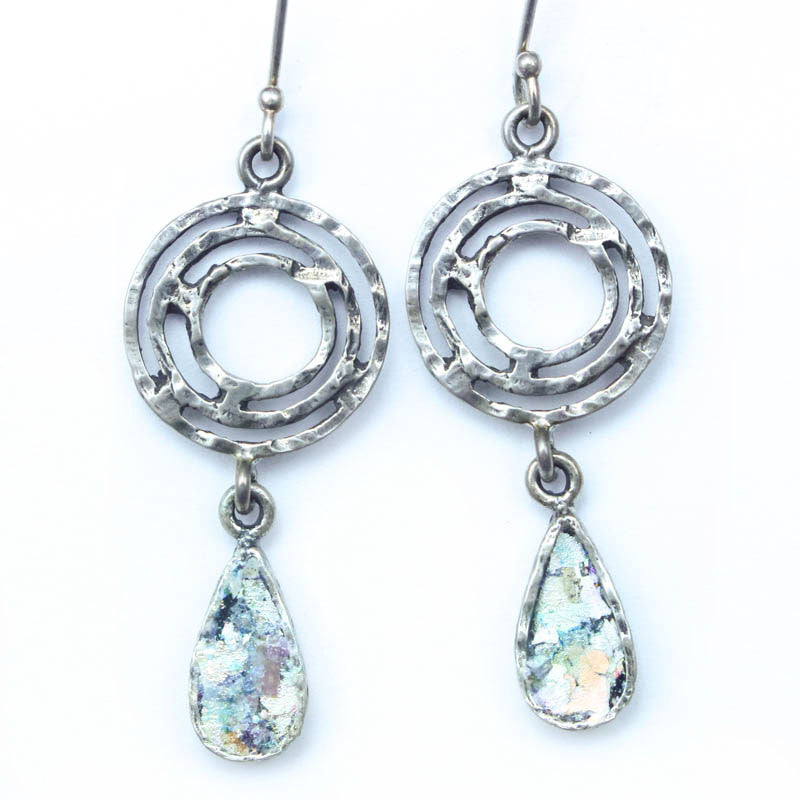 Labrynth Tear Drop Roman Glass Earrings