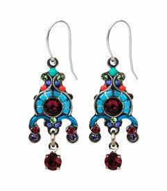 Multi Color Delicate Victorian Mosaic Earrings by Firefly Jewelry
