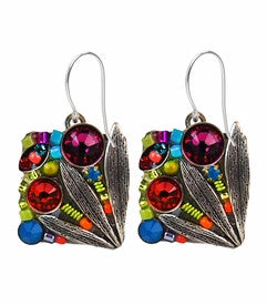 Multi Color Signature Collection Intricate Petite Mosaic Earrings by Firefly Jewelry