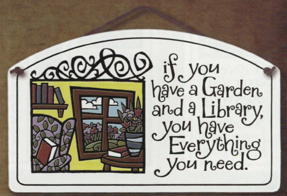 Garden Library Large Ceramic Tile