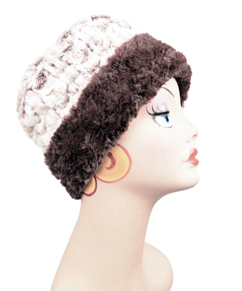 Snow Flurry With Chocolate Luxury Faux Fur Cuffed Pillbox Hat