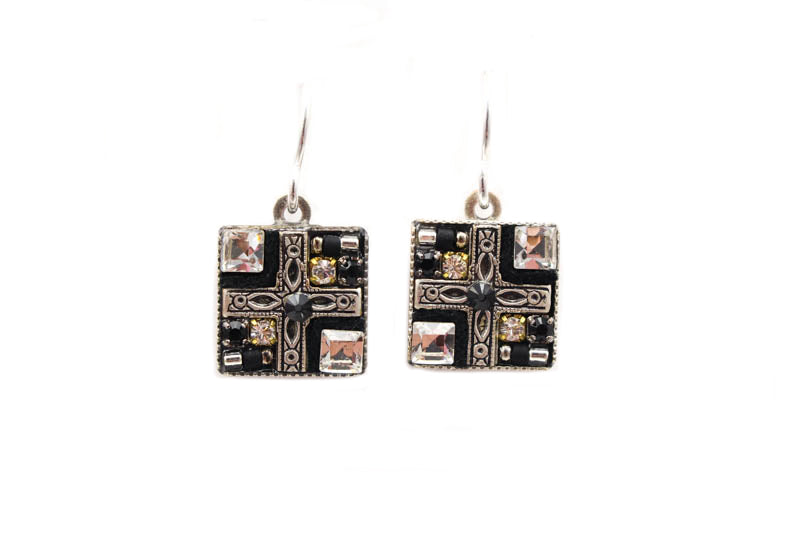 Black and White Geometric Small Square Earrings by Firefly Jewelry