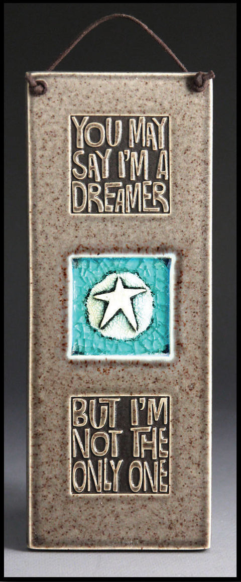 I'm a Dreamer Glass Tile in Gray