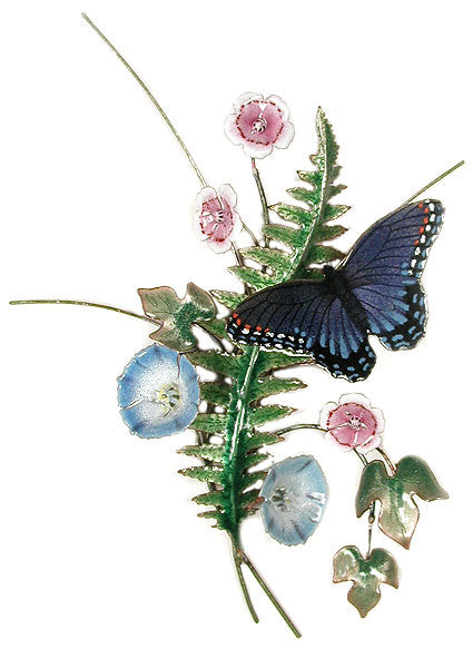Red Spotted Purple Butterfly with Enameled Fern Wall Art by Bovano ...