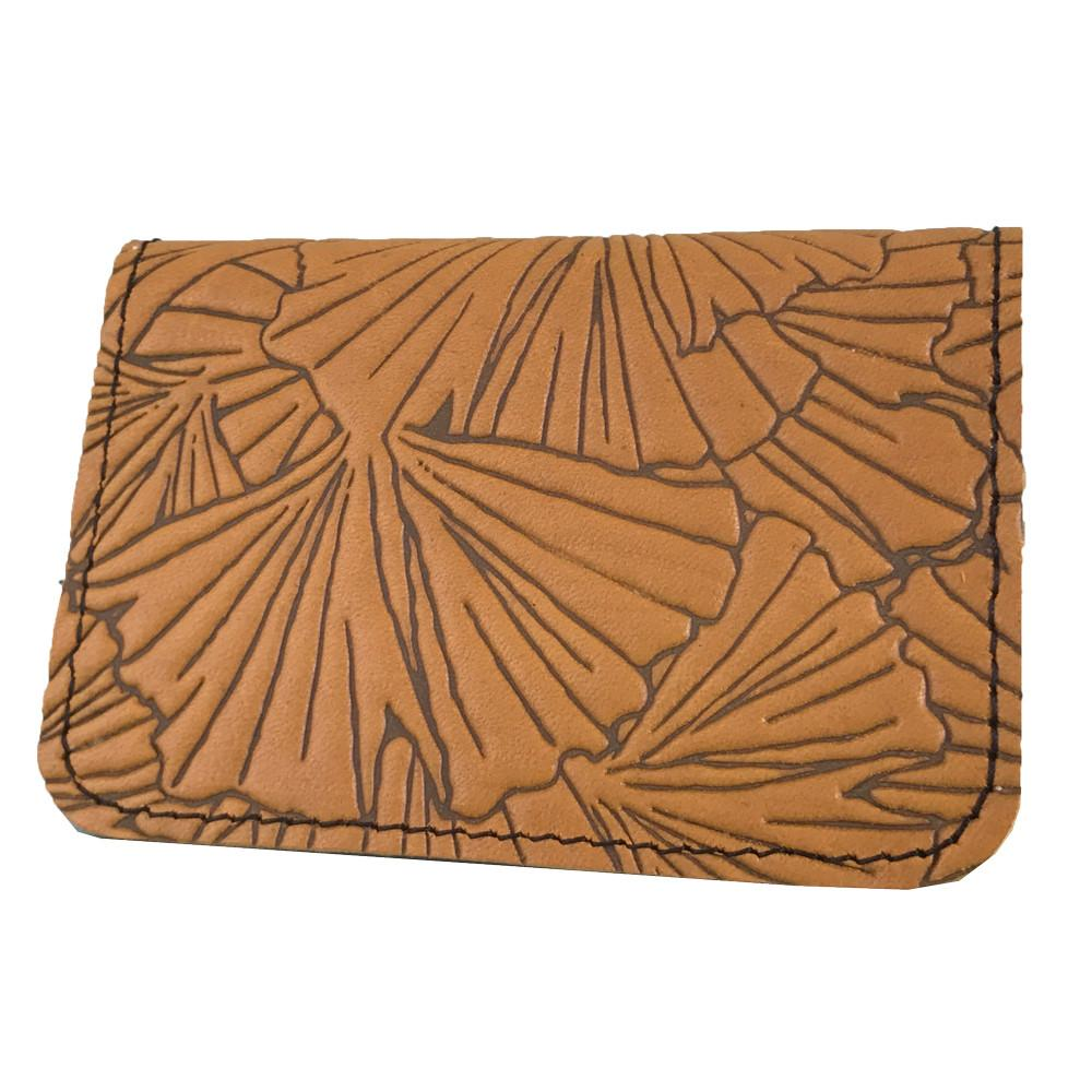 Leather Card Holder - Ginkgo in Marigold