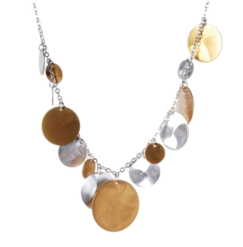 Mix Metal Multi Solid Disc Drops Necklace