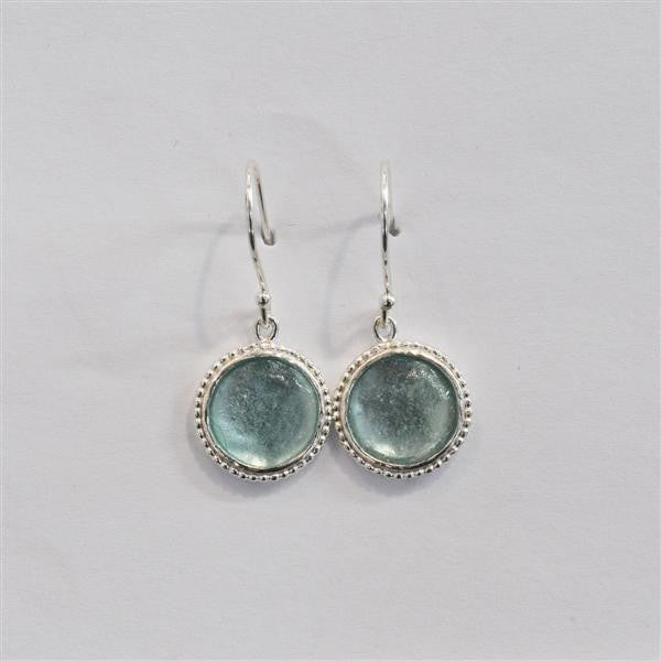 Studded Edge Round Washed Roman Glass Earrings