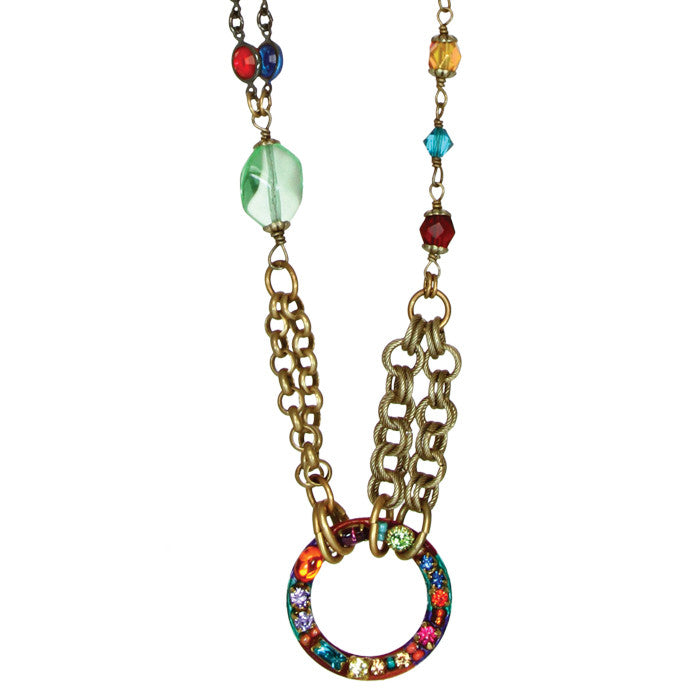 Multi Bright Mix Chain Hoop Necklace by Michal Golan