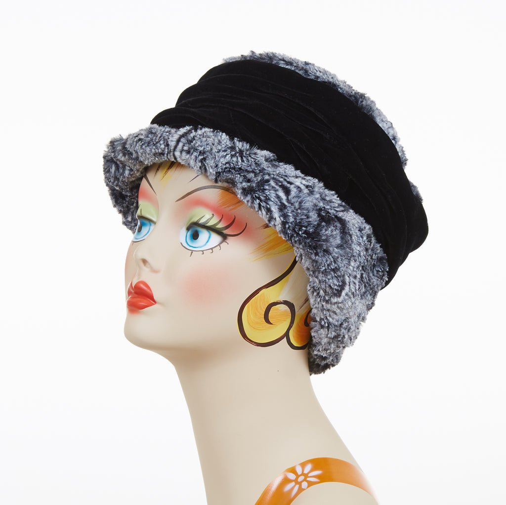 Licorice Swirl with Black Velvet Luxury Faux Fur Ana Cloche Style Hat