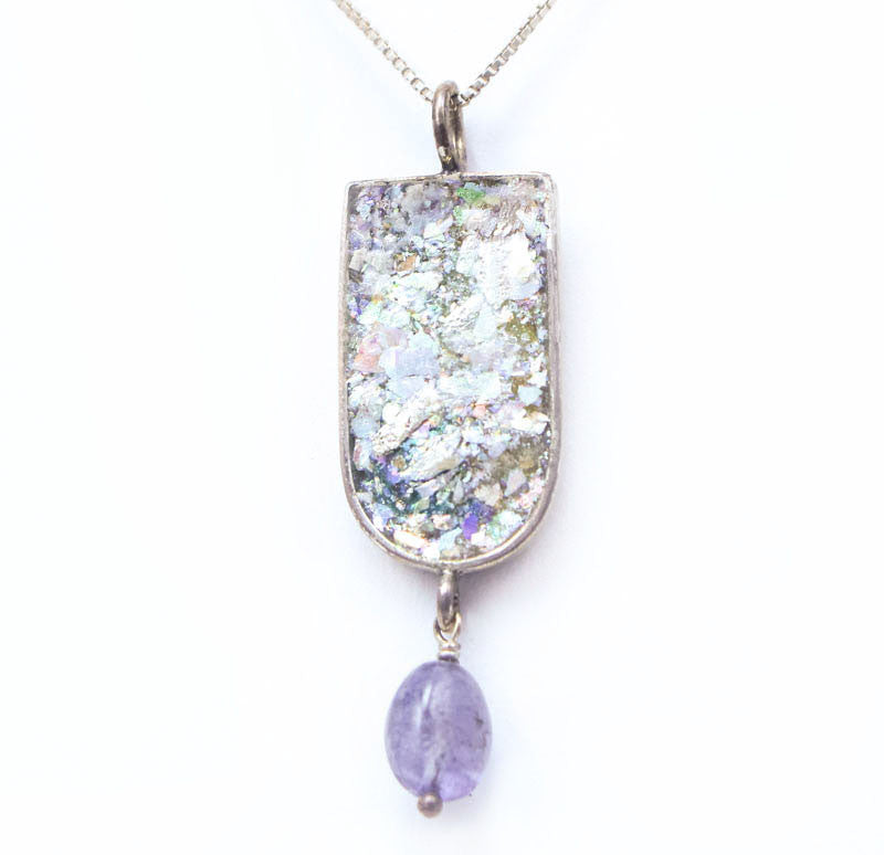 Tanzanite Dangle with Roman Glass Necklace