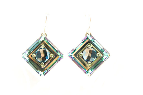 Aqua La Dolce Vita Crystal Diagonal Earrings by Firefly Jewelry