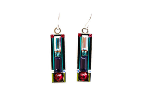 Padparadscha Elongated Rectangle Earrings by Firefly Jewelry
