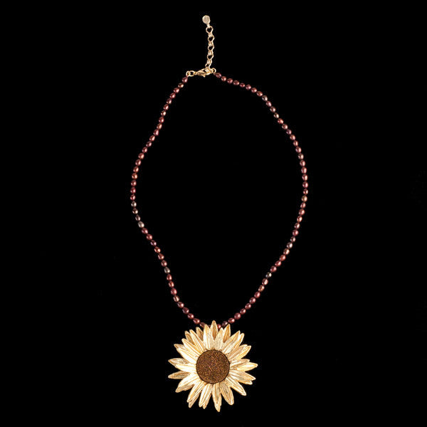 Sunflower Pendant Necklace with 16'' Adjustable Chain
