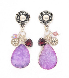 Lavender Pear Shaped Druzy Earrings by Desert Heart