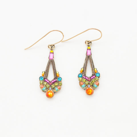 Multi Color Gold Parisian Earrings by Firefly Jewelry