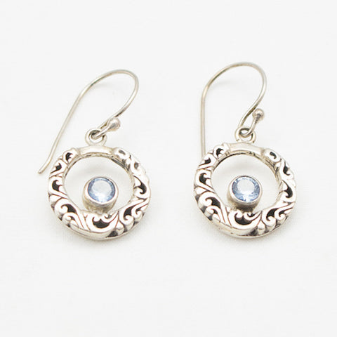 Sterling Silver Round Scrolly Earrings with Blue Topaz