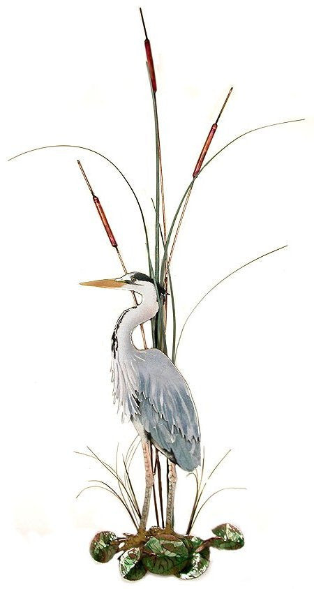Large Great Blue Heron with Cattails Facing Left Wall Art by Bovano Cheshire
