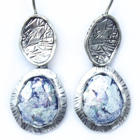 Etched Framed Double Drop Oval Patina Roman Glass Earrings