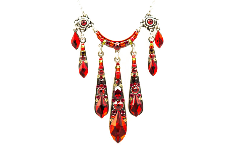 Red Gazelle Waterfall Necklace by Firefly Jewelry