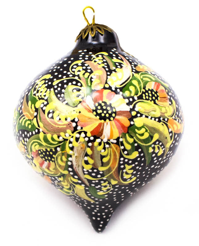 Morning Glow Bouquet Tear Drop Ceramic Ornament
